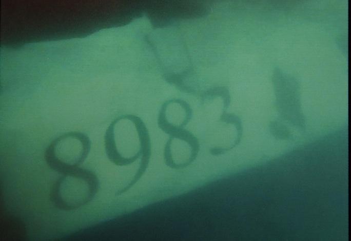 Thân vỏ máy bay ghi rõ số hiệu máy bay (chụp dưới biển)-ảnh: Bộ Quốc phòng.