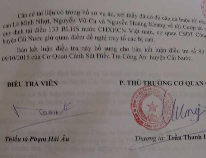 Kết luận điều tra bổ sung lần 4 vào ngày 8-8, Cơ quan CSĐT Công an huyện Cái Nước vẫn khẳng định có đủ căn cứ buộc tội 3 thanh niên. Ảnh: CÔNG TUẤN