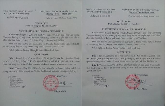 Quyết định tạm đình chỉ công tác đối với hai công chức thanh tra - Ảnh: Báo Giao thông