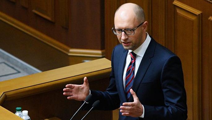 Thủ tướng Ukraine Arseniy Yatsenyuk phát biểu trước quốc hội hôm 16-2. Ảnh: RIA NOVOSTI