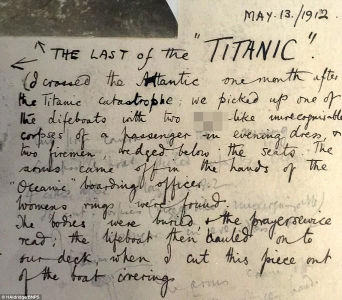 Tài liệu ghi chép về việc phát hiện chiếc xuồng cứu sinh cuối cùng của Titanic. Ảnh: HAldridge