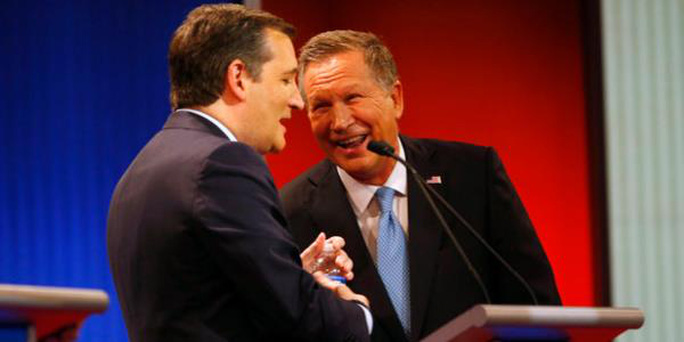 Hai ứng cử viên tổng thống Đảng Cộng hòa Ted Cruz (trái) và John Kasich Ảnh: WND.COM