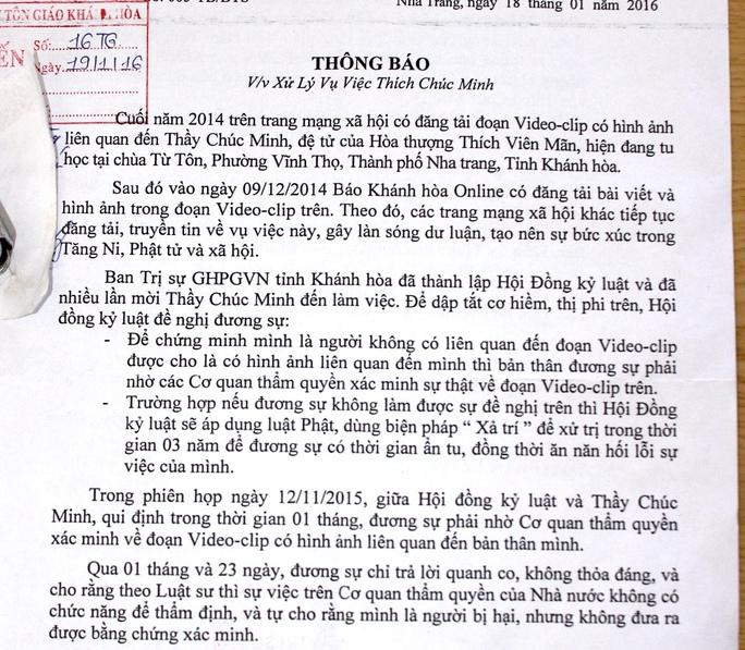 Thông báo của Ban Trị sự Giáo hội Phật giáo Việt Nam tỉnh Khánh Hòa