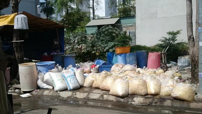 Hàng tấn măng nguyên liệu không rõ nguồn gốc xuất xứ, đã hư hỏng hôi thối không được che chắn để nằm lăn lóc bên vỉa hè tại cơ sở chế biến măng của bà Nguyễn Thị Thùy Trang (45 tuổi) - nằm bên hông chợ đầu mối nông sản thực phẩm Thủ Đức (Quốc lộ 1, quận Thủ Đức, TP HCM)