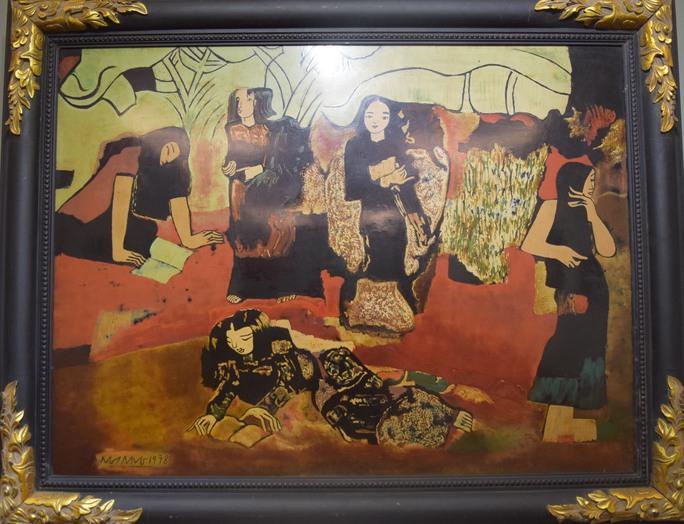"""Bức """"Vườn chuối"""" của Nguyễn Sáng treo tại triển lãm Những bức tranh trở về từ Châu Âu"""