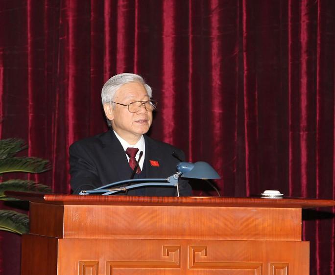 Tổng Bí thư Nguyễn Phú Trọng phát biểu tại hội nghị lần thứ nhất Ban chấp hành Trung ương khóa XII