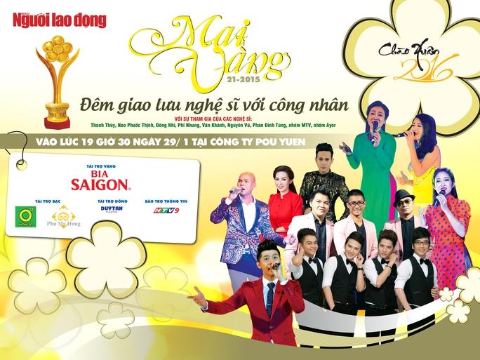 Các ca sĩ tham gia trình diễn trong chương trình Mai Vàng chào Xuân 2016