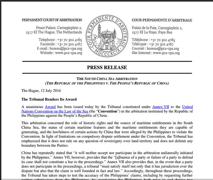 Thông cáo báo chí của Tòa Trọng tài Thường trực về phán quyết. Ảnh: pca-cpa.org