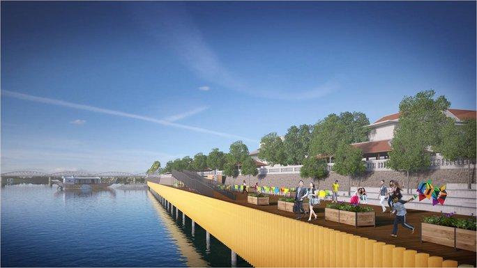 Dự án sẽ lấn bờ sông Hương, phía trên sàn được lát gỗ rộng 4 m