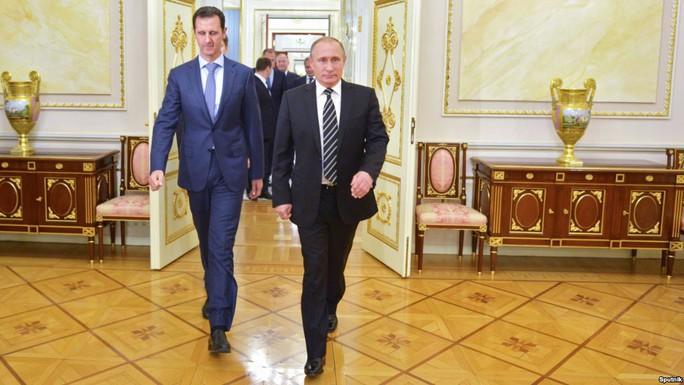 Tổng thống Nga Vladimir Putin và người đồng cấp Syria Bashar al-Assad ở Moscow hồi cuối năm ngoái. Ảnh: Sputnik