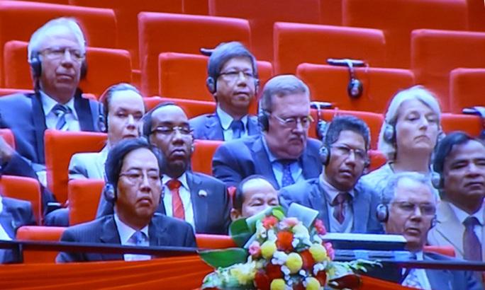 Các đại biểu quốc tế tham dự Lễ khai mạc Đại hội XII - Ảnh chụp qua màn hình