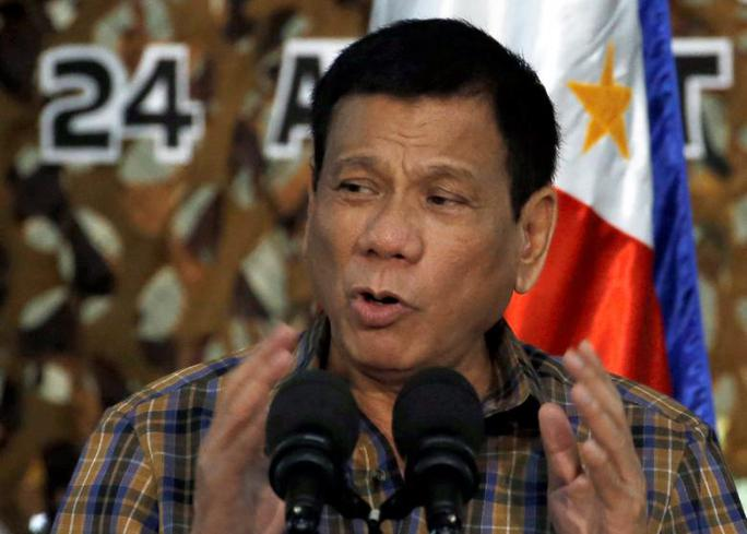 Tổng thống Duterte tuyên bố mạnh tay trong cuộc chiến chống khủng bố, tội phạm ma tuý. Ảnh: Reuters