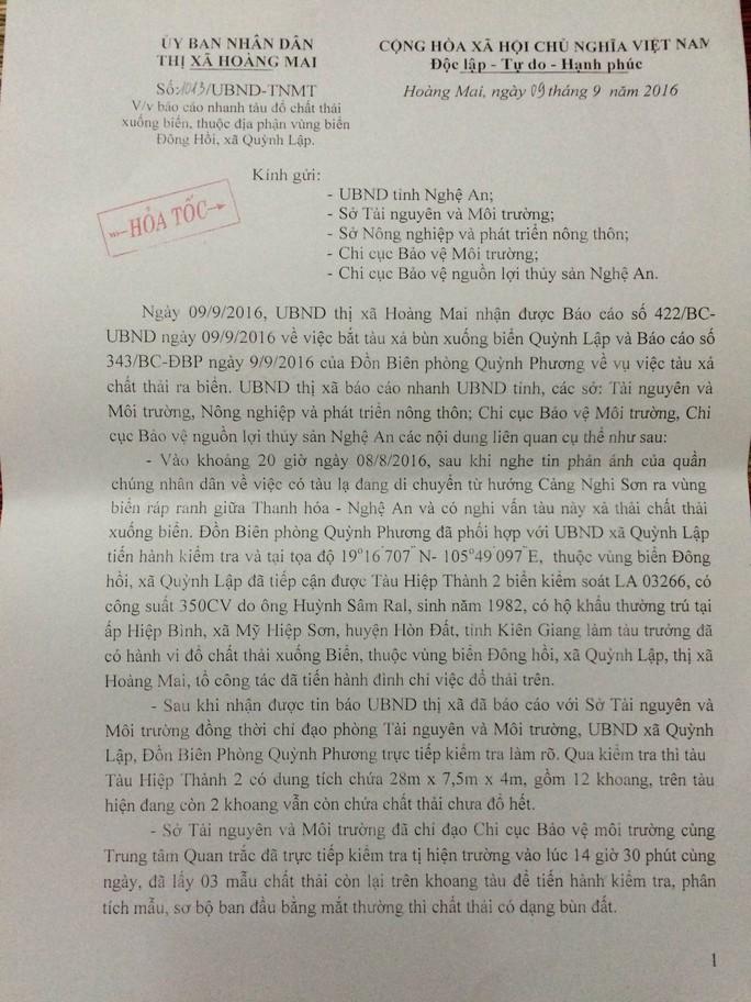 Công văn bảo cáo vụ tàu LA 03266 đổ chất thải của UBND thị xã Hoàng Mai.