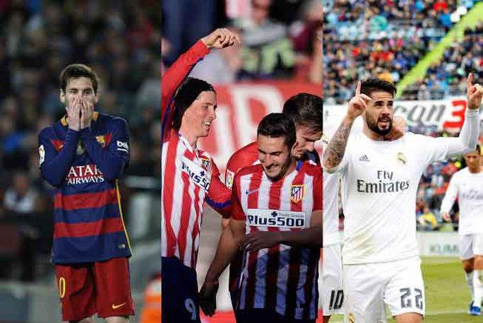Messi rầu rĩ khi Barcelona bị Atletico và Real Madrid phả hơi thở vào gáy Ảnh: AS