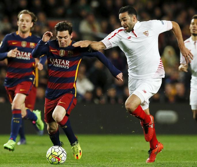 Messi rất có duyên phá lưới Sevilla và mỗi lần anh ghi bàn ở chung kết là Barca đoạt Cúp Nhà vua Tây Ban Nha Ảnh: REUTERS