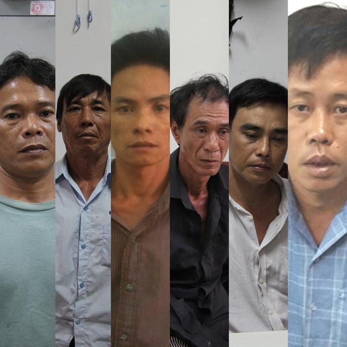 Sáu trong 7 đối tượng bị bắt (từ trái sang): Nguyễn Văn Dân, Lê Văn Dũng, Nguyễn Văn Điệp, Lý Văn Đợi, Lê Văn Mười và Phùng Thanh Tâm. (Ảnh do cơ quan công an cung cấp)