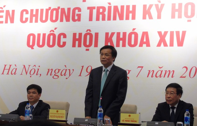 Tổng Thư ký Quốc hội Nguyễn Hạnh Phúc phát biểu tại cuộc họp báo chiều 19-7