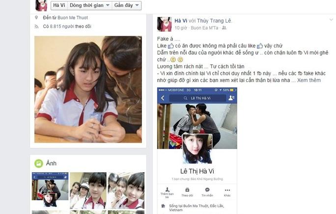 Status kêu cứu và cảnh báo của Hà Vi trên trang facebook thật tối 23-4