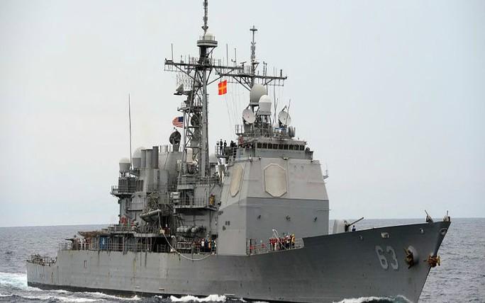 Tàu tuần dương USS Cowpens trên biển Đông Ảnh: AUSTRALIANETWORKNEWS.COM