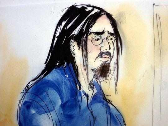Tranh vẽ Nguyễn Ngô Sinh Vinh tại tòa - Ảnh: Reuters