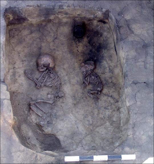 Hàng chục bộ xương nam nữ ôm nhau trong mộ cổ