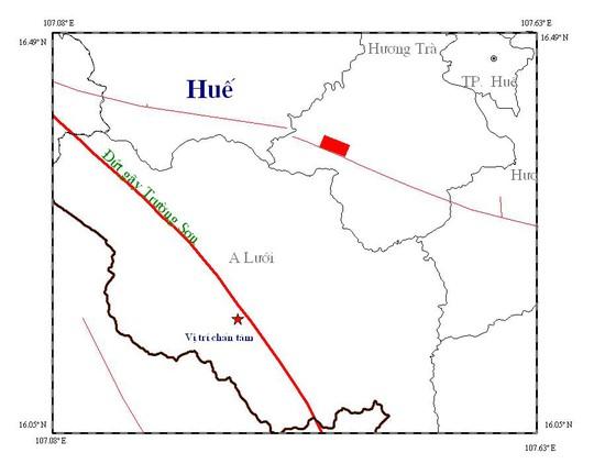 Bản đồ chấn tâm trận động đất mạnh 2.9 độ Richter xảy ra tại huyện A Lưới, tỉnh Thừa Thiên – Huế. Ảnh: Viện Vật lý địa cầu