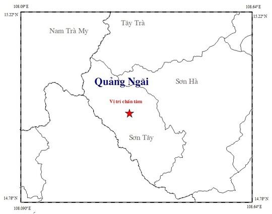 Vị trí chấn tâm trận động đất xảy ra đêm 18-7 tại huyện sơn Tây, tỉnh Quảng Ngãi. Ảnh: Viện Vật lý địa cầu