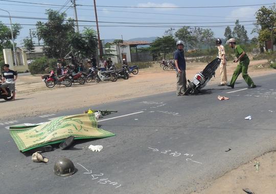 Hiện trường vụ tai nạn khiến anh Ngô Đình Sung tử vong tại chỗ
