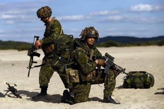 Quân đội Sư đoàn 3 của Canada tham gia cuộc tập trận do NATO tổ chức cùng lữ đoàn Bộ binh Mỹ ở Ba Lan tháng 5-2014. Ảnh: Reuters