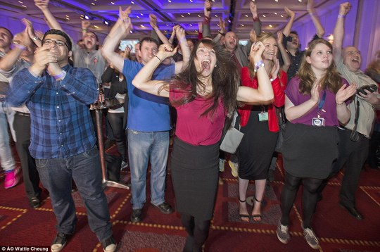As Mr Salmonds supporters faced the grim prospect of defeat, the Better Together party in Glasgow was in full swing as the results pointed to a convincing victory for the pro-Union movement