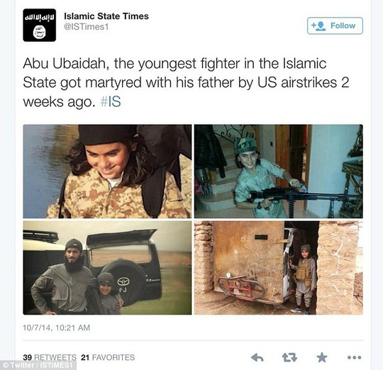 Support: ISIS sympathisers are triumphantly circulating images of a 10-year-old boy they claim has been martyred with while fighting alongside his father in Syria