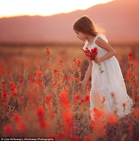 Red delight: Camille picks handfuls of wild flowers amid a mountainous backdrop