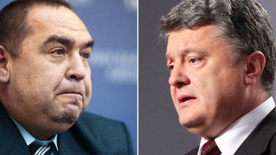 Thủ lĩnh Cộng hòa Nhân dân Luhansk tự xưng (LPR) Igor Plotnitsky (trái) và Tổng thống Ukraine Petro Poroshenko. Ảnh: RIA Novosti