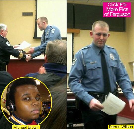 Viên cảnh sát Darren Wilson sẽ không bị truy tố tội bắn chết Michael Brown (ảnh nhỏ). Ảnh: Hollywood Life