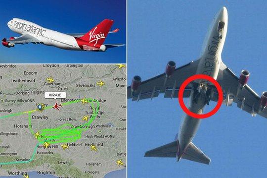 Càng hạ cánh của máy bay bị kẹt nên không thể tiếp đất. Ảnh: Mirror