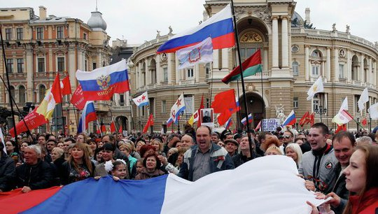 Supporters of federalization of Ukraine during a rally in Odessa