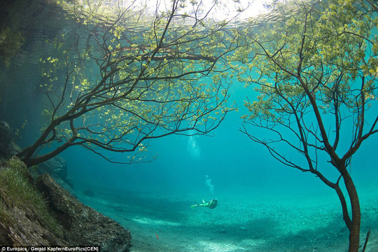 The Green Lake in the village of Tragöß in Styria is only around a metre deep in the summer - but that all changes in the spring