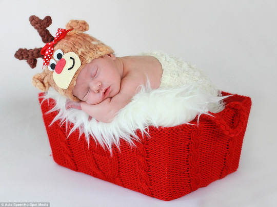 Photographer Adia Speer from New Jersey takes photos of babies in red, white and green, using Santa hats, woolly reindeer horns and carrots. Parents like photos to remind them of their babys first Christmas