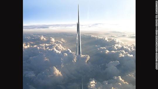 Tháp Kingdom Tower khi hoàn thiện sẽ có độ cao 1.000m. Ảnh: CNN
