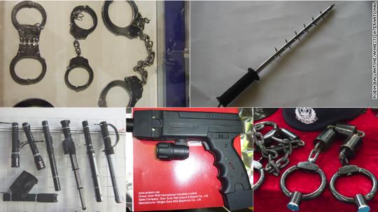 Các công ty sản xuất công cụ thực thi pháp luật ở Trung Quốc giới thiệu sản phẩm trên website. Ảnh: CNN