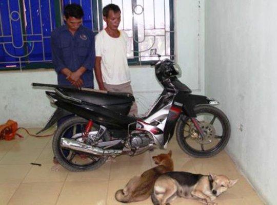 Hai đối tượng trộm chó và tang vật bị Cảnh sát thu giữ