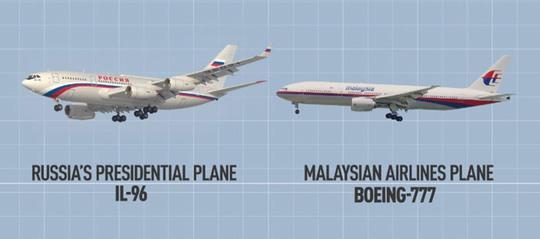 Chiếc phản lực cơ Board One của Tổng thống Putin (trái) và máy bay MH17 của Malaysia có nhiều điểm tương đồng. Ảnh: RT