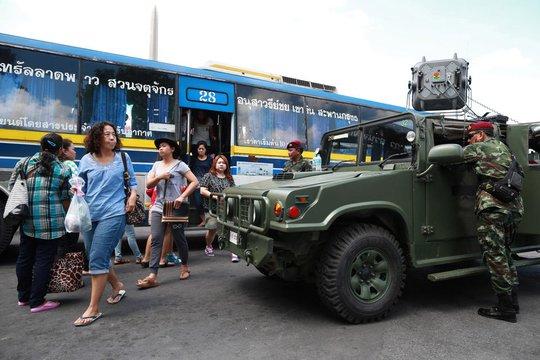 Biểu tình ở Thái Lan đã thu hẹp phạm vi và diễn ra ôn hòa hơn. Ảnh: AP
