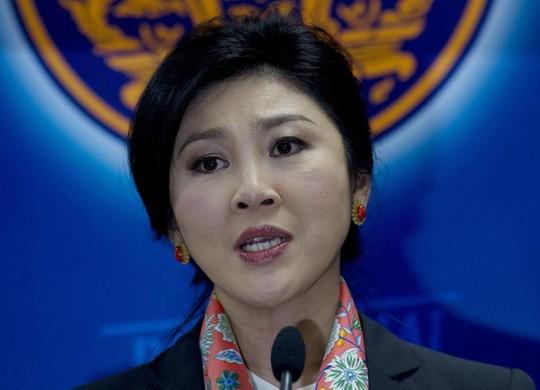 Bà Yingluck trong cuộc họp báo hôm 7-5 tại Bangkok. Ảnh: AP