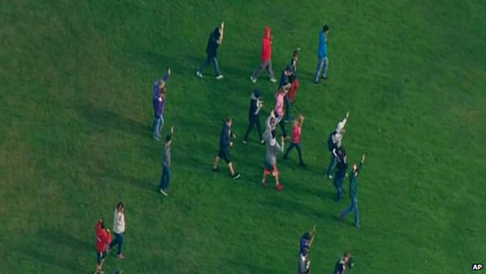 Overhead imagery of students in Marysville, Washington, on 24 October 2014