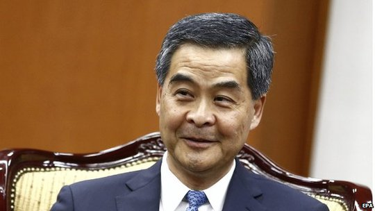 Hong Kong Chief Executive Leung Chun-ying talks with South Korean foreign minister Yun Byung-Se (not pictured) during their meeting at the Ministry of Foreign Affairs in Seoul, South Korea, 26 November 2014.