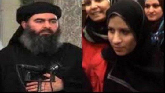 Thủ lĩnh tối cáo IS Abu Bakr Al-Baghdadi và vợ Saja Al-Dulaimi - Ảnh: Al Jazeera