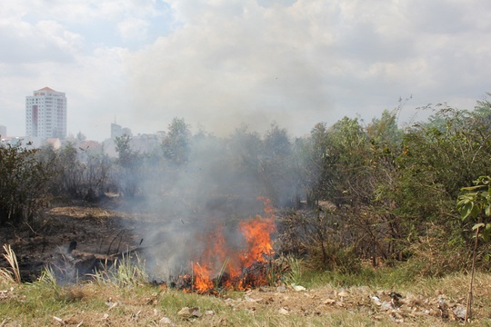 Do thời tiết khô hanh, đám cỏ khô phát hỏa, đe dọa khu dân cư xung quanh