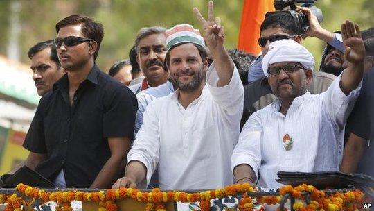 Đảng Quốc đại Ấn Độ với ứng cử viên Rahul Gandhi đã thừa nhận thất bại trước Đảng đối lập BJP. Ảnh: AP