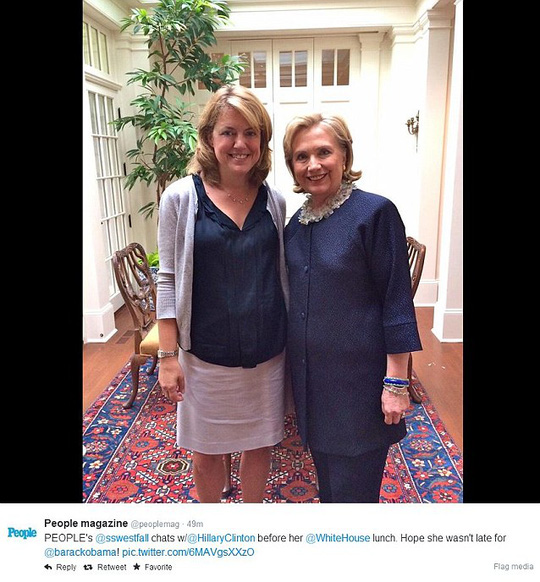 People Magazine raised questions about how the president spent his day on Thursday after tweeting out this photo of it Washington Bureau Chief Sandra Westfall, left, and Hillary Clinton, right